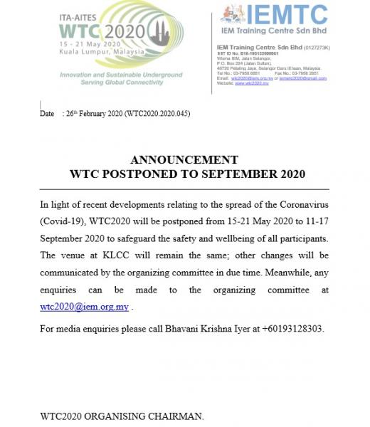 WTC2020 Organizing Committee September Postponement Announcement