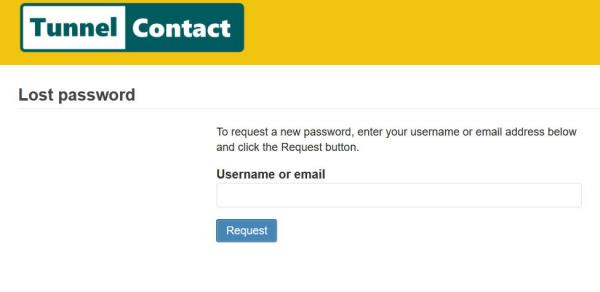 TunnelContact.com Lost Password screen
