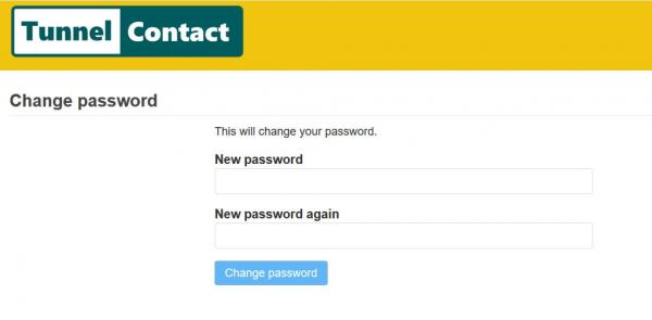TunnelContact.com New Password screen